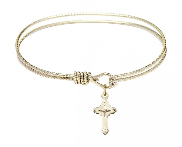 Cable Bangle Bracelet with a Cross Charm - Gold