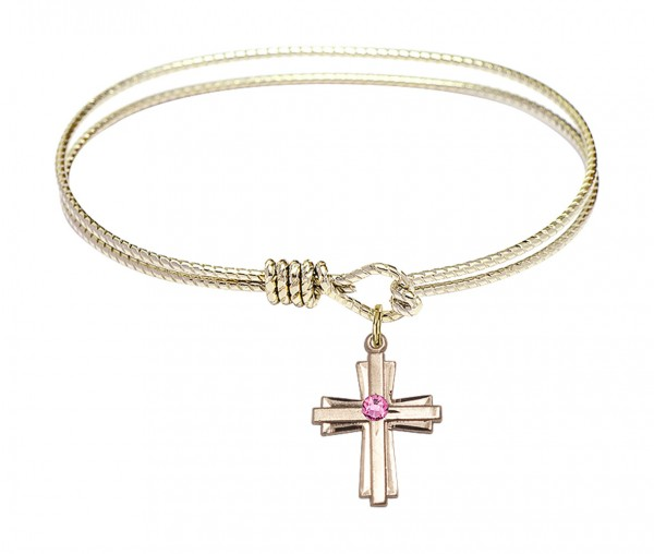 Cable Bangle Bracelet with a Cross Charm - Rose