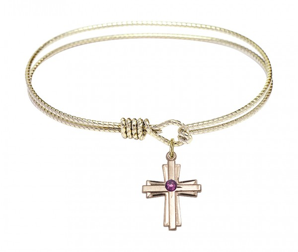 Cable Bangle Bracelet with a Cross Charm - Amethyst