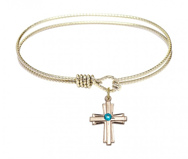 Cable Bangle Bracelet with a Cross Charm - Zircon