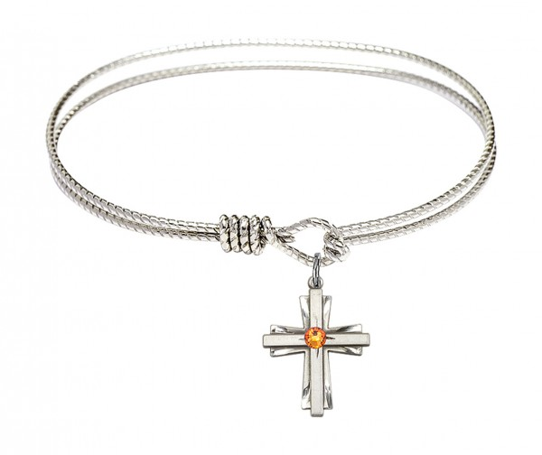 Cable Bangle Bracelet with a Cross Charm - Topaz
