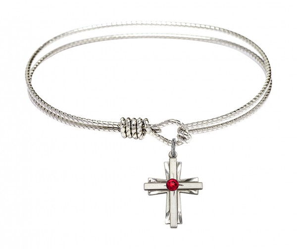 Cable Bangle Bracelet with a Cross Charm - Ruby Red