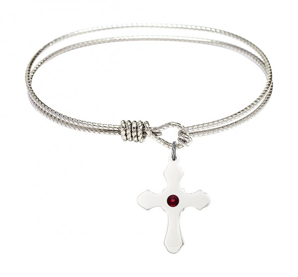 Cable Bangle Bracelet with a Cross Charm - Garnet