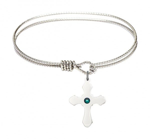 Cable Bangle Bracelet with a Cross Charm - Emerald Green
