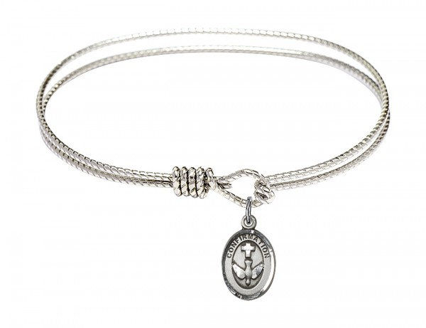 Cable Bangle Bracelet with a Cross Dove Confirmation Charm - Silver