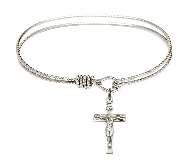 Cable Bangle Bracelet with a Crucifix Charm - Silver