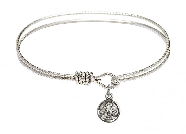 Cable Bangle Bracelet with a Guardian Angel Charm - Silver