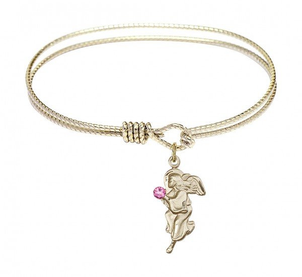 Cable Bangle Bracelet with a Guardian Angel Charm - Rose