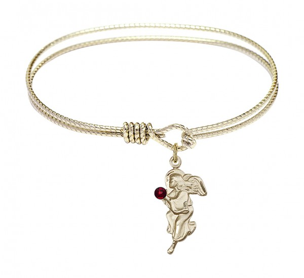 Cable Bangle Bracelet with a Guardian Angel Charm - Garnet