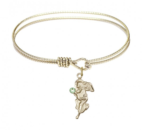 Cable Bangle Bracelet with a Guardian Angel Charm - Peridot