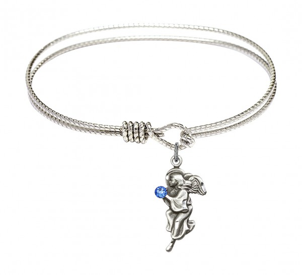 Cable Bangle Bracelet with a Guardian Angel Charm - Sapphire