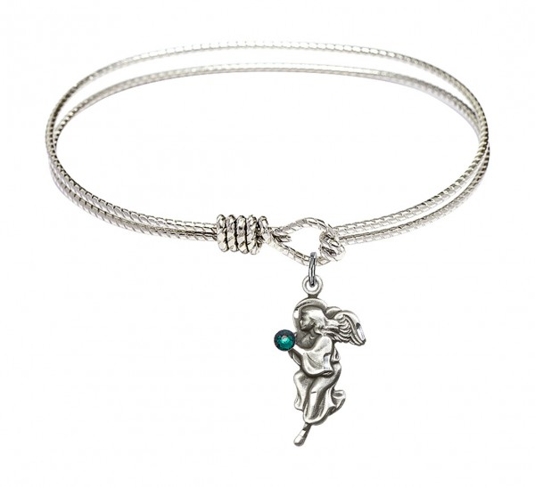 Cable Bangle Bracelet with a Guardian Angel Charm - Emerald Green