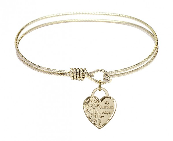 Cable Bangle Bracelet with a Guardian Angel Heart Charm - Gold