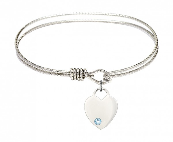 Cable Bangle Bracelet with a Heart Charm - Aqua