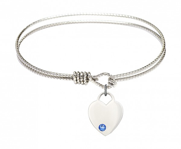Cable Bangle Bracelet with a Heart Charm - Sapphire