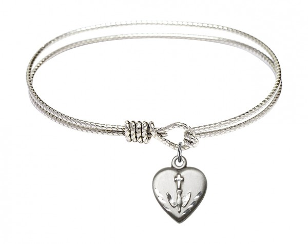 Cable Bangle Bracelet with a Heart Confirmation Charm - Silver
