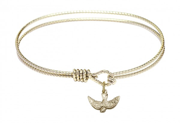 Cable Bangle Bracelet with a Holy Spirit Charm - Gold