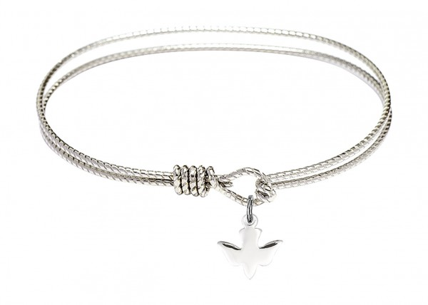 Cable Bangle Bracelet with a Holy Spirit Dove Charm - Silver