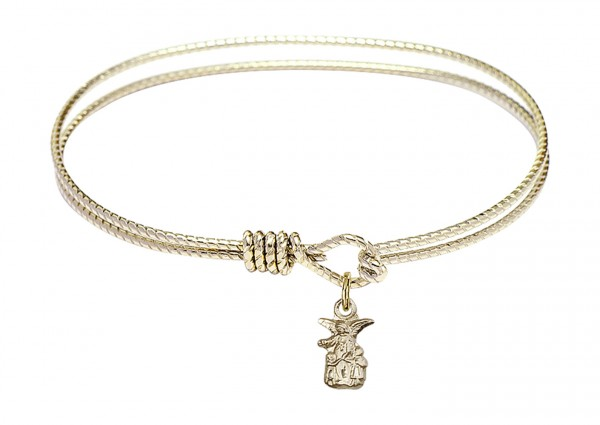 Cable Bangle Bracelet with a Littlest Angel Charm - Gold