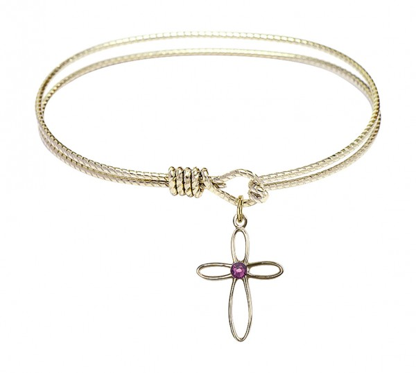 Cable Bangle Bracelet with a Loop Cross Charm - Amethyst