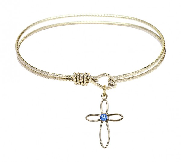 Cable Bangle Bracelet with a Loop Cross Charm - Sapphire