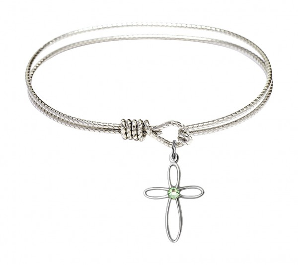 Cable Bangle Bracelet with a Loop Cross Charm - Peridot