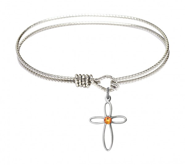 Cable Bangle Bracelet with a Loop Cross Charm - Topaz