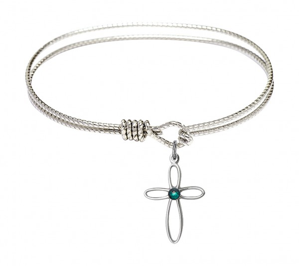 Cable Bangle Bracelet with a Loop Cross Charm - Emerald Green