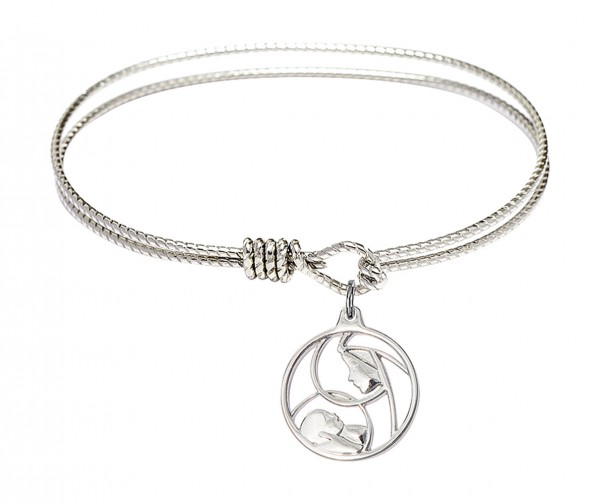 Cable Bangle Bracelet with a Madonna and Child Charm - Silver