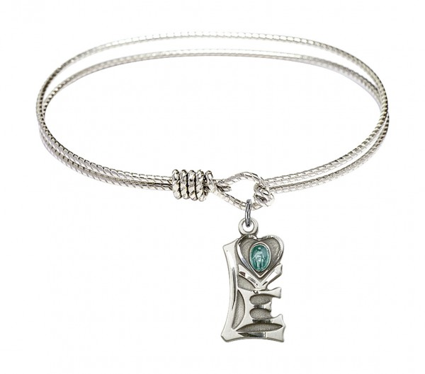 Cable Bangle Bracelet with a Miraculous Charm - Silver