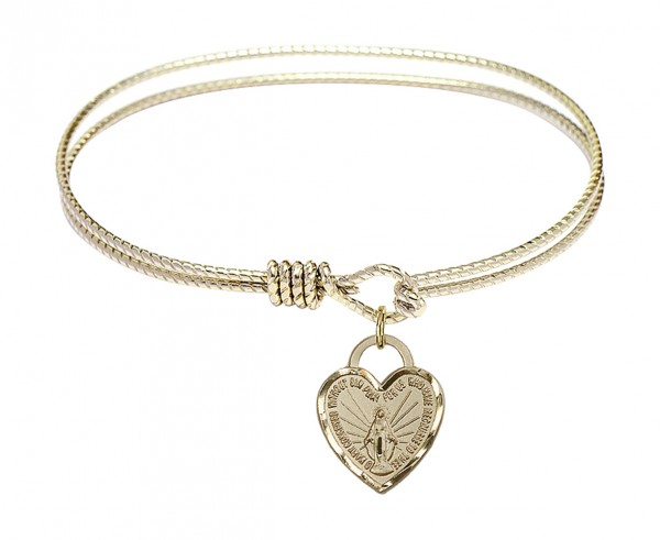 Cable Bangle Bracelet with a Miraculous Heart Charm - Gold