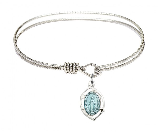 Cable Bangle Bracelet with a Miraculous Leaf Charm - Silver