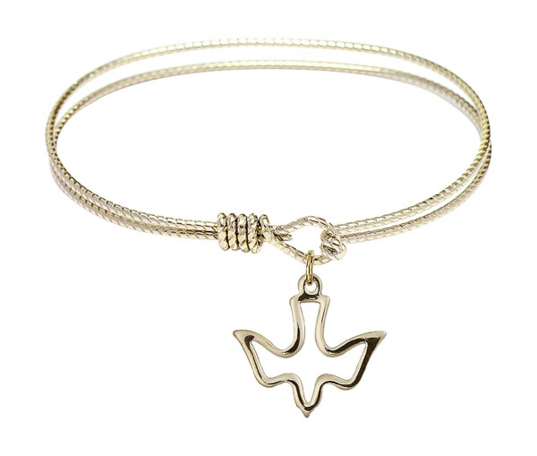 Cable Bangle Bracelet with an Open Cut Holy Spirit Charm - Gold
