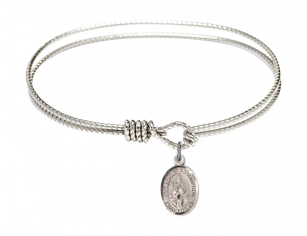Cable Bangle Bracelet with Our Lady of Assumption Charm - Silver