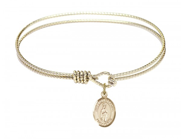 Cable Bangle Bracelet with Our Lady of Fatima Charm - Gold