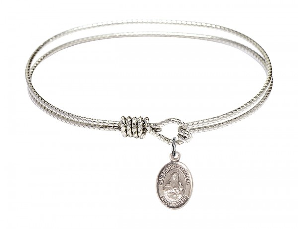 Cable Bangle Bracelet with Our Lady of Grapes Charm - Silver