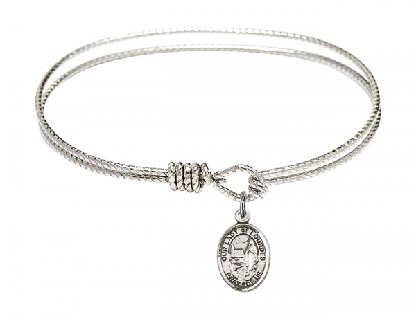 Cable Bangle Bracelet with Our Lady of Lourdes Charm - Silver