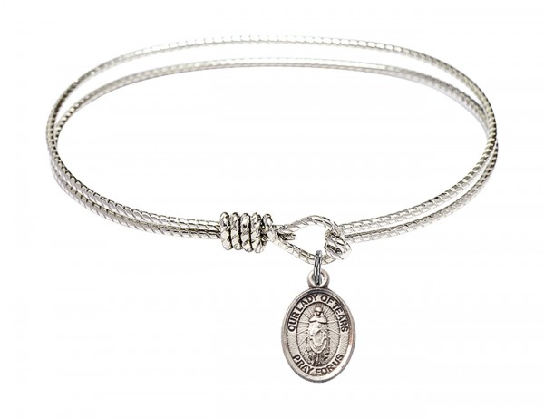 Cable Bangle Bracelet with Our Lady of Tears Charm - Silver