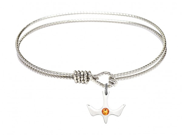 Cable Bangle Bracelet with a Petite Holy Spirit Charm and Birthstone - Topaz