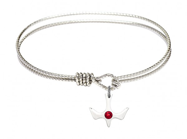 Cable Bangle Bracelet with a Petite Holy Spirit Charm and Birthstone - Ruby Red