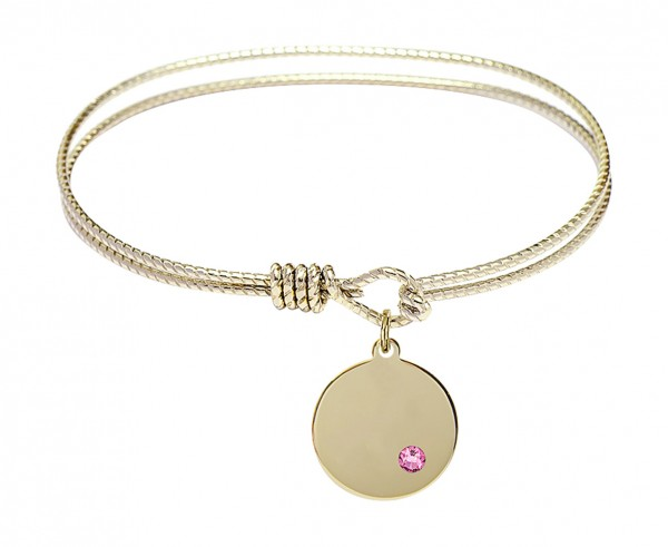 Cable Bangle Bracelet with a Plain Disc Charm - Rose