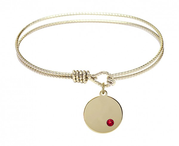 Cable Bangle Bracelet with a Plain Disc Charm - Ruby Red