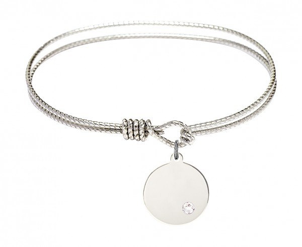 Cable Bangle Bracelet with a Plain Disc Charm - Crystal