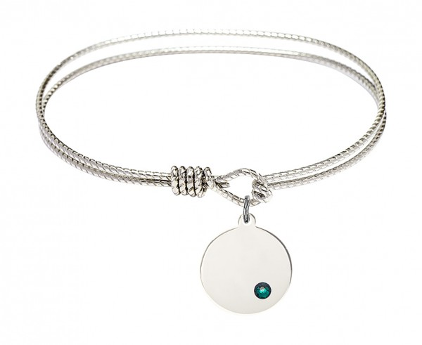 Cable Bangle Bracelet with a Plain Disc Charm - Emerald Green