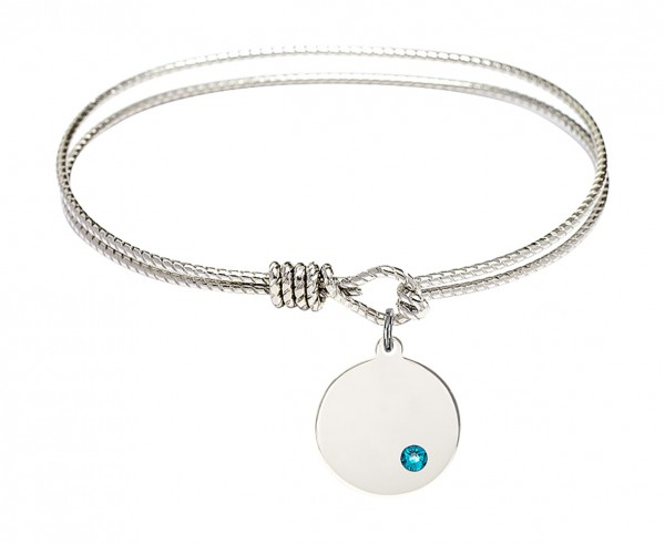 Cable Bangle Bracelet with a Plain Disc Charm - Zircon