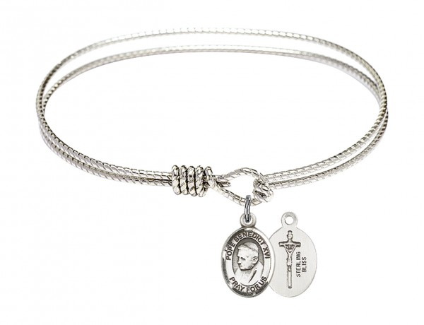 Cable Bangle Bracelet with a Pope Emeritace  Benedict XVI Charm - Silver