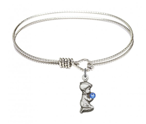 Cable Bangle Bracelet with a Praying Boy Charm - Blue | Silver