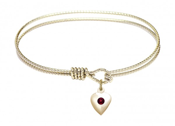 Cable Bangle Bracelet with a Puff Heart Charm - Garnet
