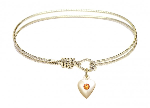 Cable Bangle Bracelet with a Puff Heart Charm - Topaz