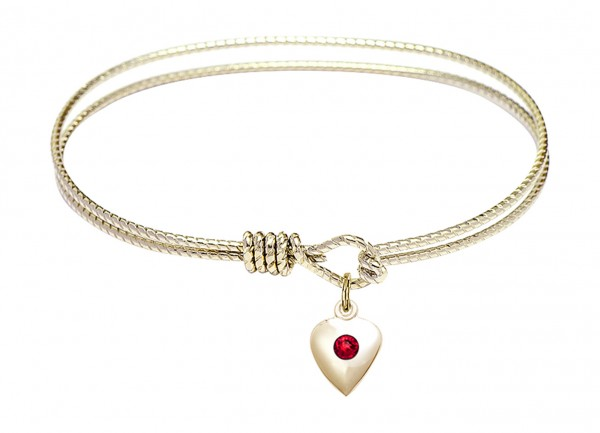 Cable Bangle Bracelet with a Puff Heart Charm - Ruby Red